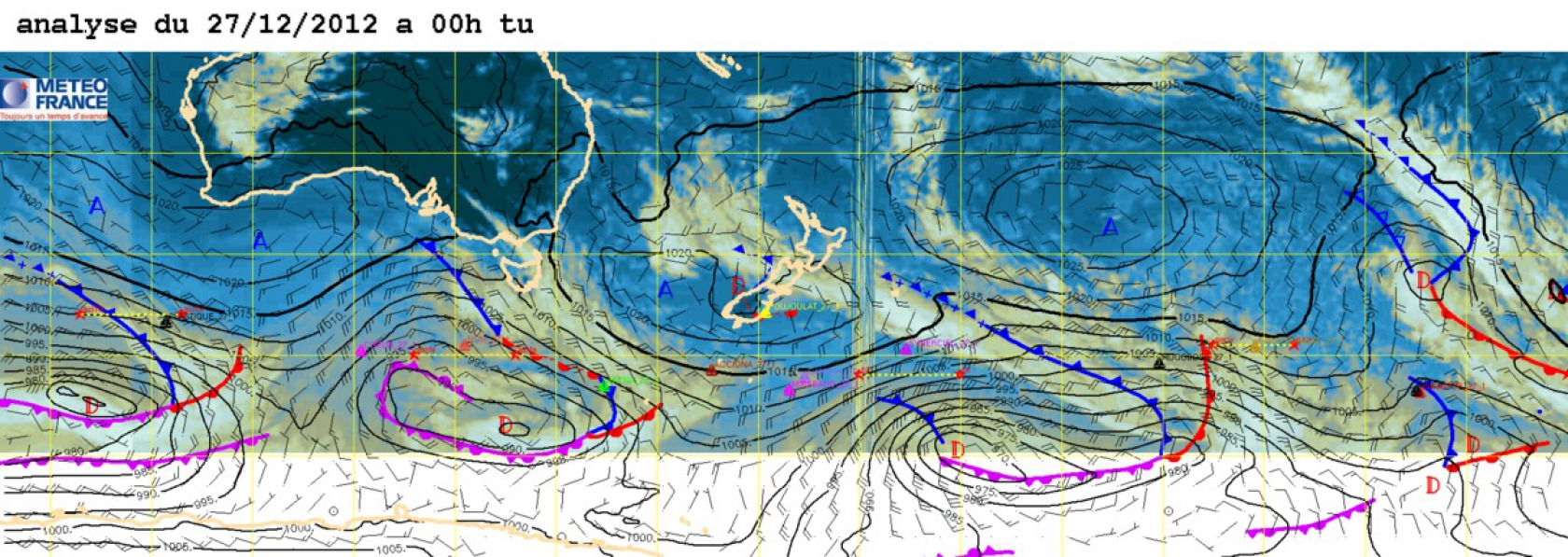 Weather analysis for the 27th December 2012 at 00 UTC.
