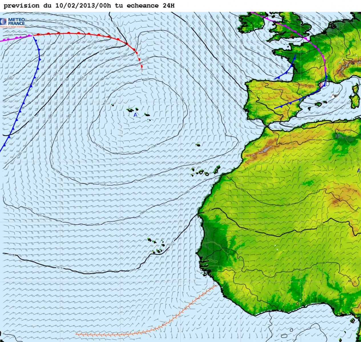 Weather forecast for the 11th february 2013 at 00 UTC.