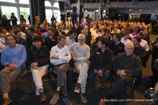 Skippers at Press conference of the Vendee Globe 2016 with skippers presentation at Pavillon Gabriel in Paris, France, on februa