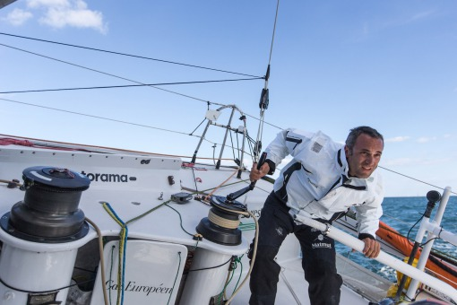 Fabrice Amedeo (Fra), skipper IMOCA Newrest-Matmut, before the start of the Vendee Globe in les Sables d'Olonne next 6th novembe
