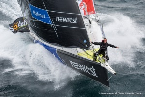Sailing aerial images of the IMOCA boat Newrest - Matmut, skipper Fabrice Amedeo (FRA), during training for the Vendee Globe 2016, off Belle Ile in South Brittany, on October 12, 2016 - Photo Jean-Marie Liot / DPPI / Vend