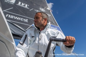Fabrice Amedeo (FRA), skipper Newrest Matmut, before the start of the Vend