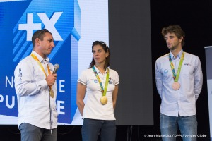 French Sailing Federation and olympics champions Charline Picon, Pierre Le Coq and Damien Seguin, at the VOG, during prestart of the Vendee Globe, in Les Sables d'Olonne, France, on October 19th, 2016 - Photo Jean-Marie Liot / DPPI / Vendee GlobeLa FFVo