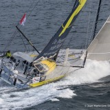 Sailing aerial images of the IMOCA boat Le Souffle du Nord, skipper Thomas Ruyant  (FRA), during training for the Vendee Globe 2016, off Belle Ile in South Brittany, on October 13, 2016 - Photo Jean-Marie Liot / DPPI / Vendée GlobeImages aériennes de Le