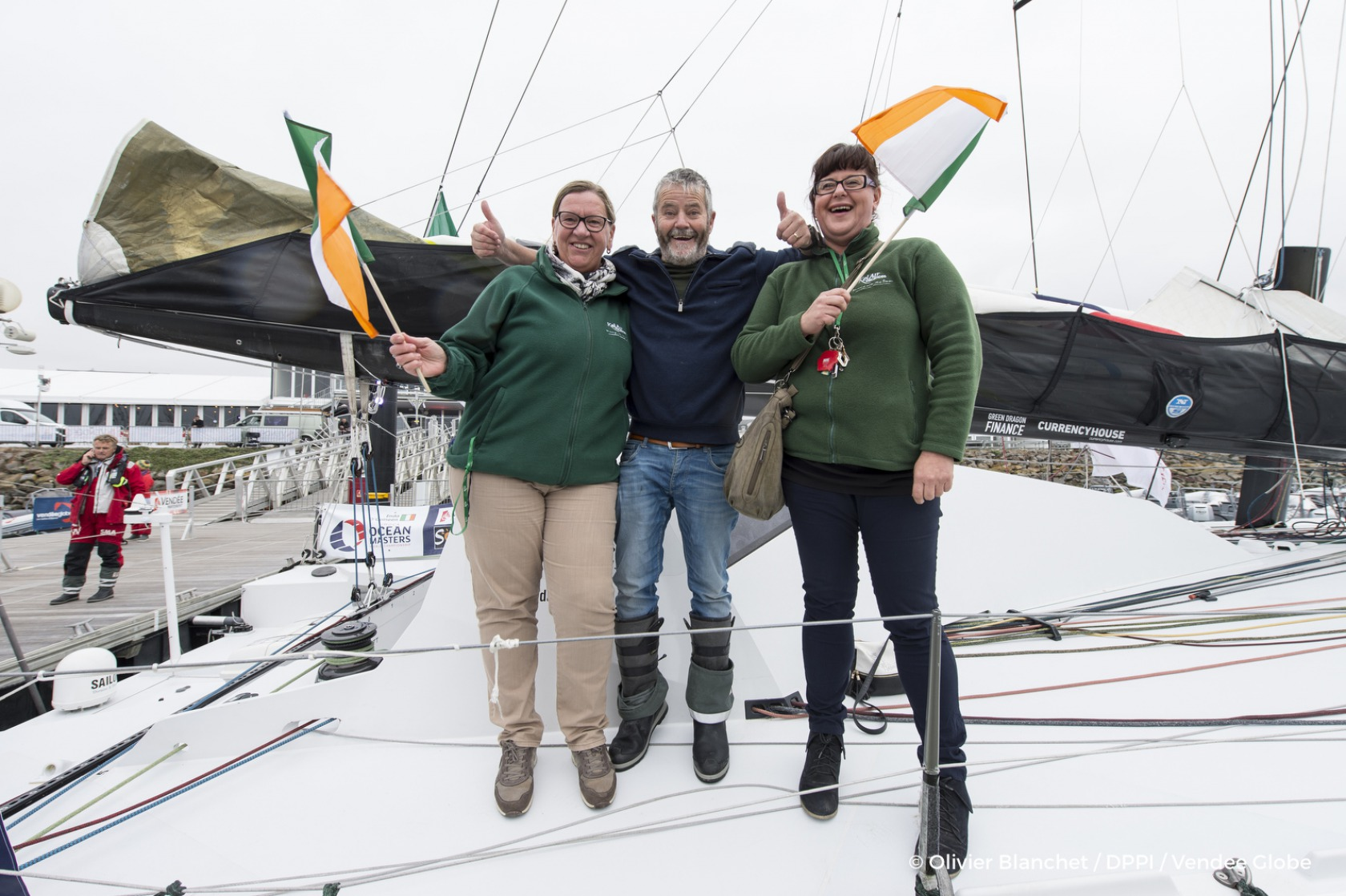 Enda O'Coineen (IRL), skipper Kilcullen Voyager - Team Ireland, arrived at pontoon in Port Olona for the start of the Vendee Globe 2016, expected november 6th, solo circumnavigation race, in Les Sables d'Olonne on october 13th, 2016 - Photo Olivier Blanch