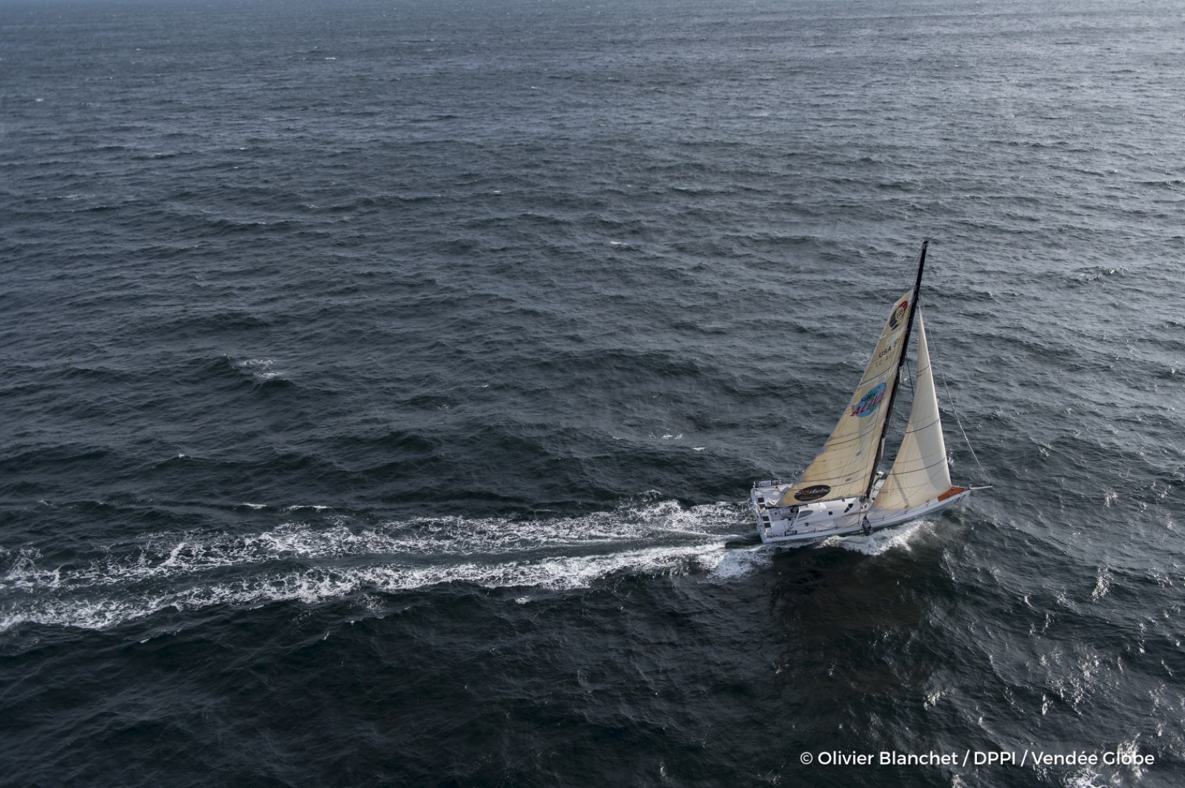 Sailing aerial images of the IMOCA boat Great American IV, skipper Rich Wilson (US), during training solo for the Vendee Globe 2016, off Les Sables d'Olonne, on October 4, 2016 - Photo Olivier Blanchet / DPPI / Vendée GlobeImages aériennes de Great Amer