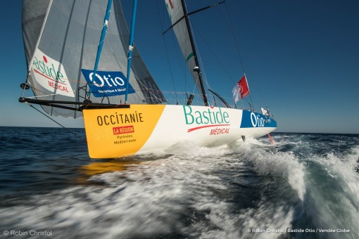 Onboard image bank while training for the Vendee Globe of IMOCA Bastide Otio, skipper Kito de Pavant (FRA), off La Ciotat, on September 2nd, 2016 - Photo Robin Christol / Bastide Otio / Vendee GlobeImages embarquées de Kito de Pavant (FRA), skipper Bast