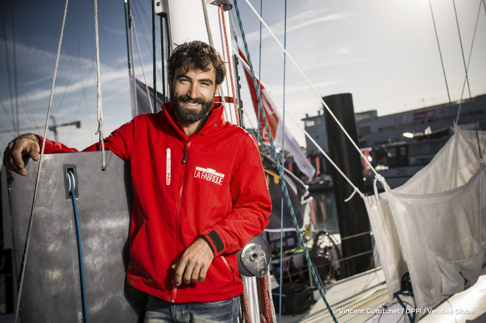 Alan Roura (SUI), skipper La Fabrique, portraited during prestart of the Vendee Globe, in Les Sables d'Olonne, France, on October 19th, 2016 - Photo Vincent Curutchet / DPPI / Vendee GlobePortrait de Alan Roura (SUI), skipper La Fabrique, aux Sables d'O