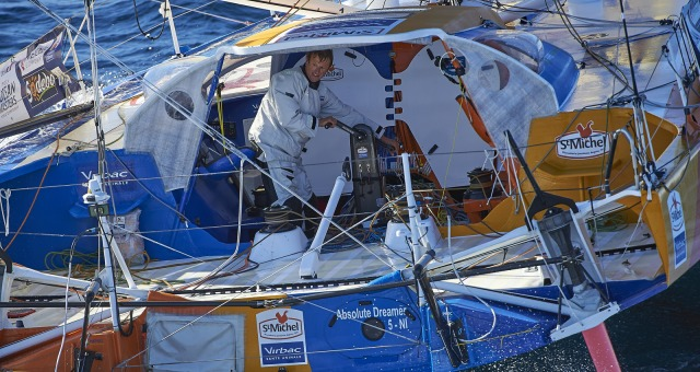 Sailing aerial images of the IMOCA boat St Michel - Virbac, skipper Jean Pierre Dick (FRA), during a solo training medium wind for the Vendee Globe, off Groix in South Brittany, on October 6, 2016 - Photo Yvan Zedda / St Michel-Virbac / Vendée GlobeImag