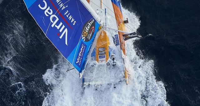 Sailing aerial images of the IMOCA boat St Michel - Virbac, skipper Jean Pierre Dick (FRA), during a solo training strong wind for the Vendee Globe, off Belle-Ile in South Brittany, on September 16, 2016 - Photo Yvan Zedda / St Michel-Virbac / Vendée Glob