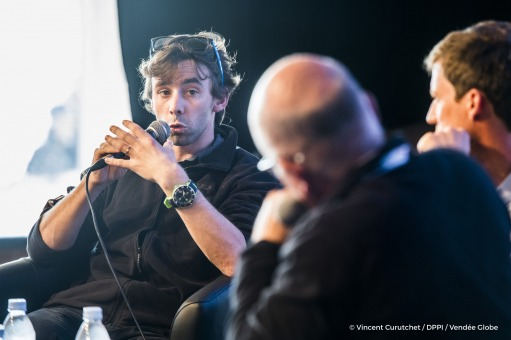 Round table for Paul Meilhat (FRA), skipper SMA, and Guillaume Evrard (Deputy race director), during prestart of the Vendee Globe, in Les Sables d'Olonne, France on October 27th, 2016 - Photo Vincent Curutchet / DPPI / Vendée GlobeTable ronde pour Paul