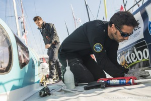 SAFRAN, skipper Morgan Lagraviere (FRA), Teamworks before the Vendee Globe, in Les Sables d'Olonne, France, on October 28th, 2016 - Photo Vincent Curutchet / DPPI / Vendee Globe
