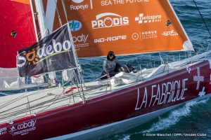 Sailing aerial images of the IMOCA boat La Fabrique, skipper Alan Roura (SUI), during training solo for the Vendee Globe, off Les Sables d'Olonne, on October 27, 2016 - Photo Olivier Blanchet / DPPI / Vendée Globe