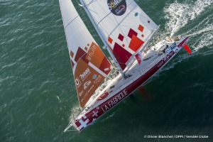 Sailing aerial images of the IMOCA boat La Fabrique, skipper Alan Roura (SUI), during training solo for the Vendee Globe, off Les Sables d'Olonne, on October 27, 2016 - Photo Olivier Blanchet / DPPI / Vendée GlobeImages aériennes de La Fabrique, skipper