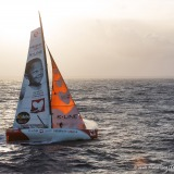 Sailing images of the IMOCA boat Initiatives Coeur, skipper Tanguy de Lamotte (FRA), during solo training for the Vendee Globe 2016, off Belle Ile in South Brittany, on September 25, 2016 - Photo Jean-Marie Liot / DPPI / Vendee GlobeImages d'action de I