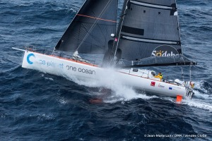 Sailing aerial images of the IMOCA boat One planet One ocean, skipper Didac Costa (ESP),  during training for the Vendee Globe 2016, off Ile d'Yeu, on October 13, 2016 - Photo Jean-Marie Liot / DPPI / Vendee GlobeImages aériennes de One planet One ocean