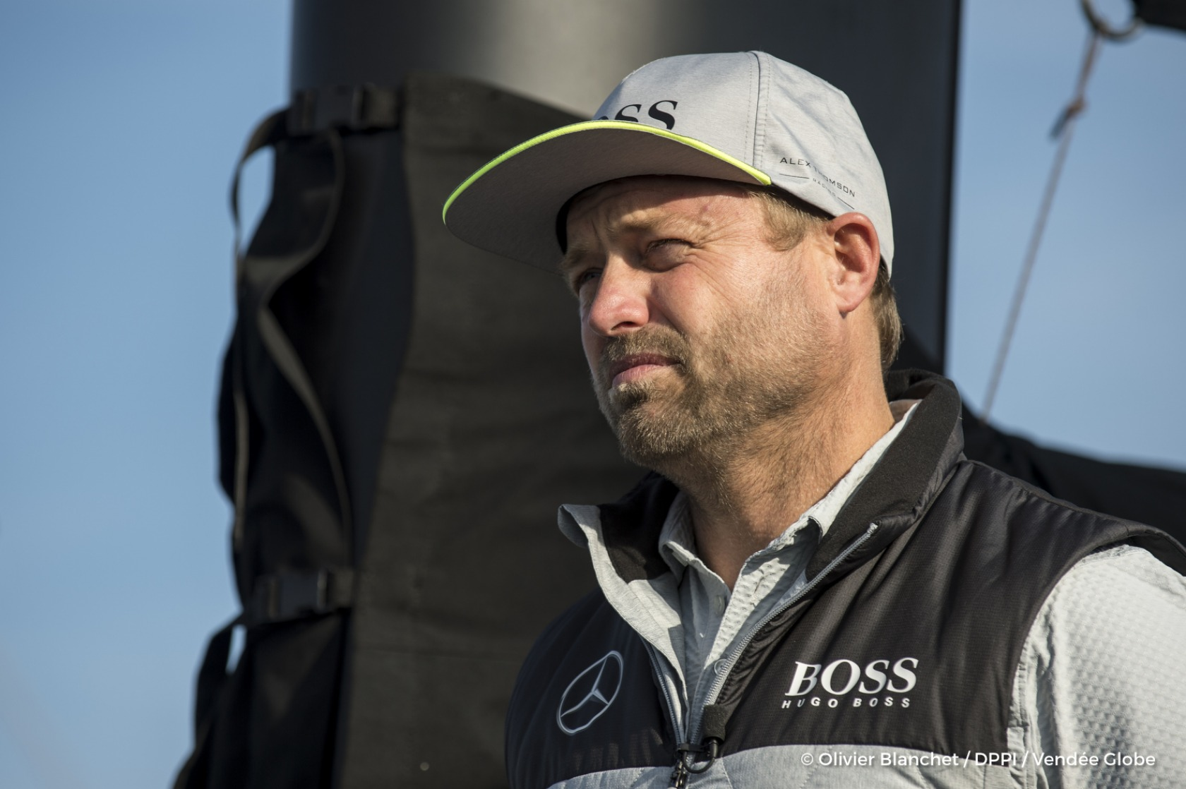 Illustration media with Alex Thomson (GBR), skipper Hugo Boss, on pontoons of the Vendee Globe, in Les Sables d'Olonne, France, on November 2nd, 2016 - Photo Olivier Blanchet / DPPI / Vendée Globe Illustration media avec Alex Thomson (GBR), skipper Hugo