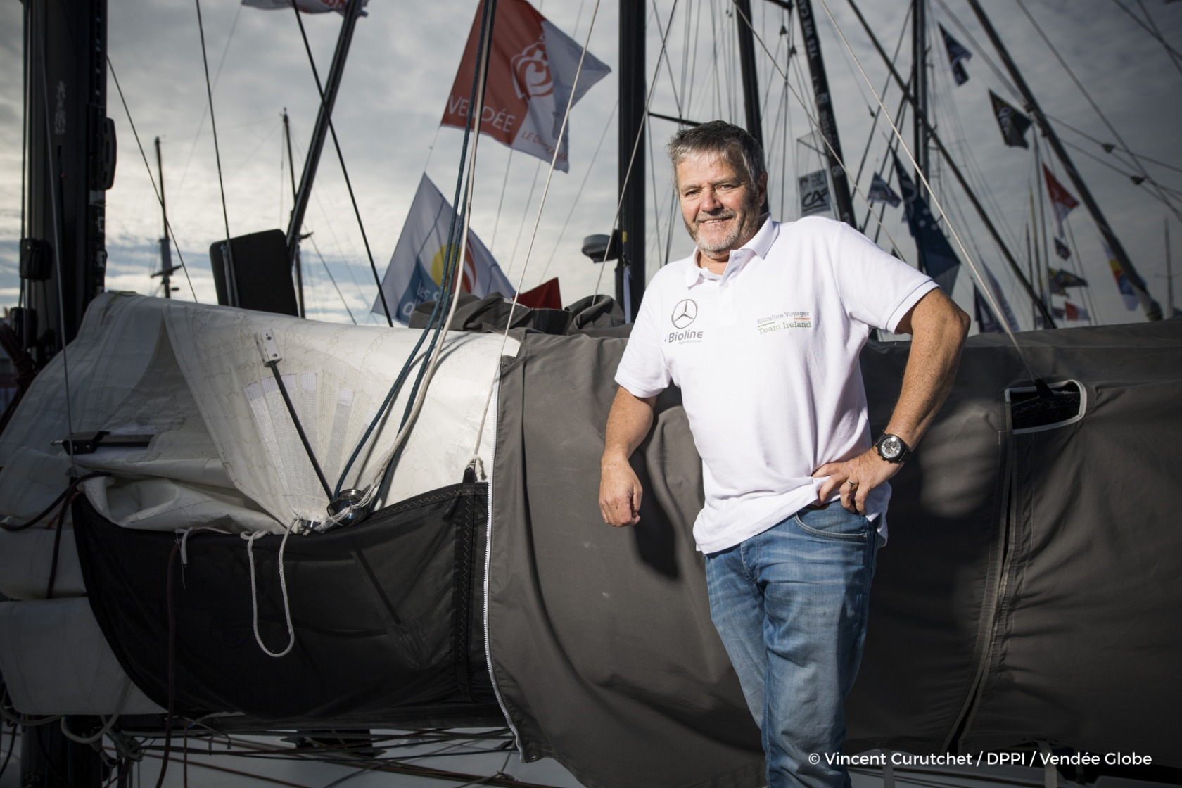 Enda O'Coineen (IRL), skipper Kilcullen Voyager - Team Ireland, portraited on pontoons of the Vendee Globe, in Les Sables d'Olonne, France, on November 4th, 2016 - Photo Vincent Curutchet / DPPI / Vendee GlobePortrait de Enda O'Coineen (IRL), skipper Ki