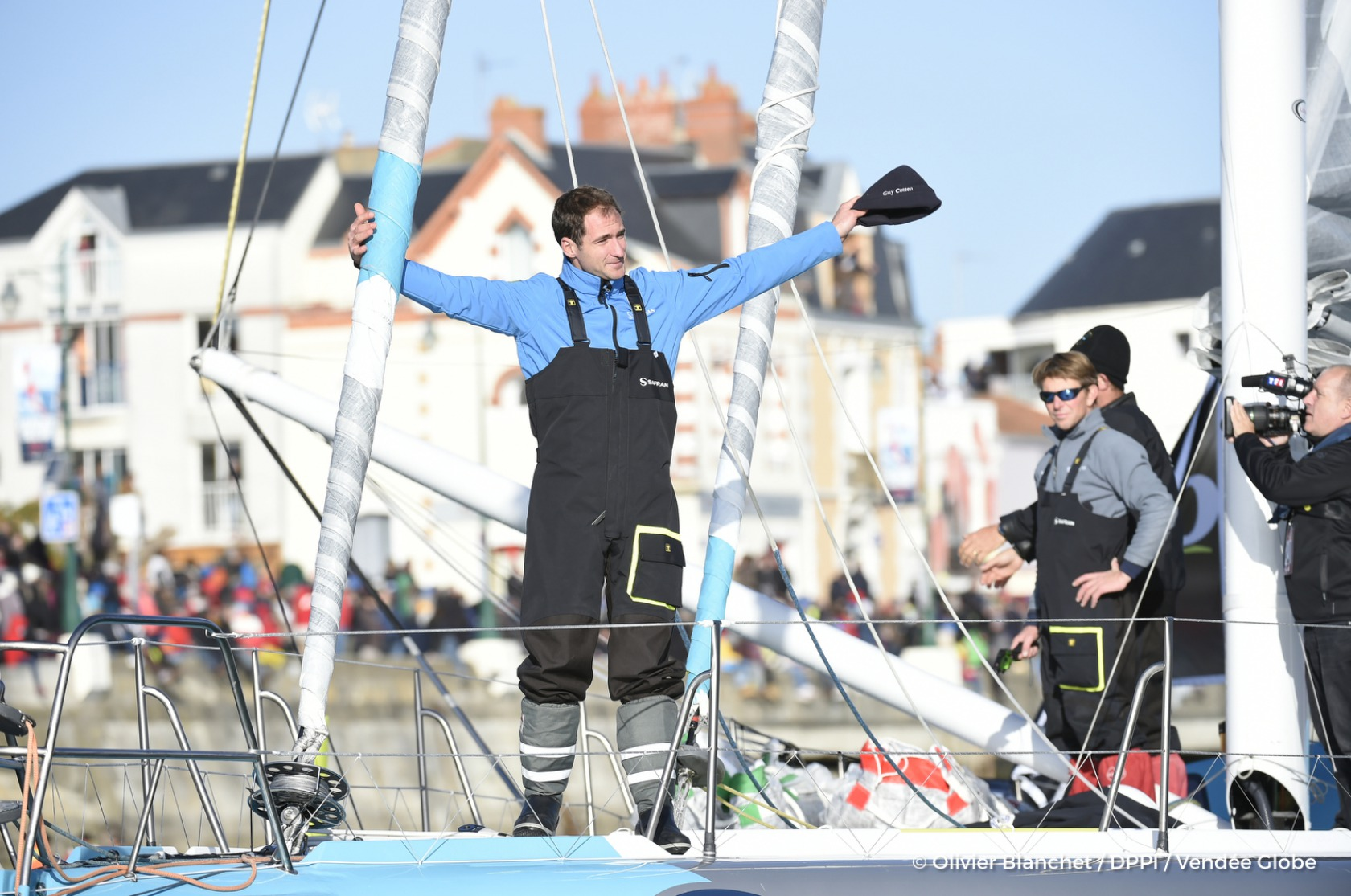 Channel ambiance with Morgan Lagraviere (FRA), skipper Safran, start of the Vendee Globe, in Les Sables d'Olonne, France, on November 6th, 2016 - Photo Olivier Blanchet / DPPI / Vendee Globe