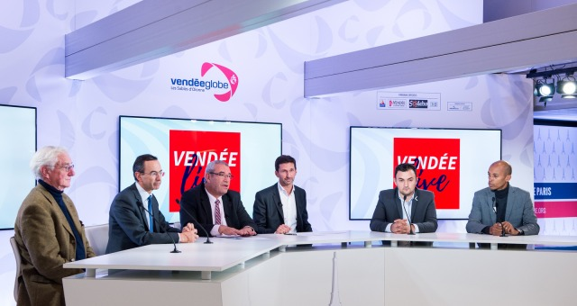 Opening of the Vendee Globe sailing race headquarters at  Mail Branly, Paris, France, by Yves Auvinet (CG85 President), Bruno Retailleau (Pays de Loire President), Didier Gallot (Les Sables d'Olonne mayor), with Jean-Francois Martins (Paris mayor deputy)