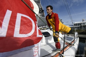 Didac Costa (ESP), skipper One planet One ocean, re-start in the Vendee Globe race, in  Les Sables d'Olonne, France, on November 10th, 2016 - Photo Olivier Blanchet / DPPI / Vendee GlobeDidac Costa (ESP), skipper One planet One ocean, retour dans la cou