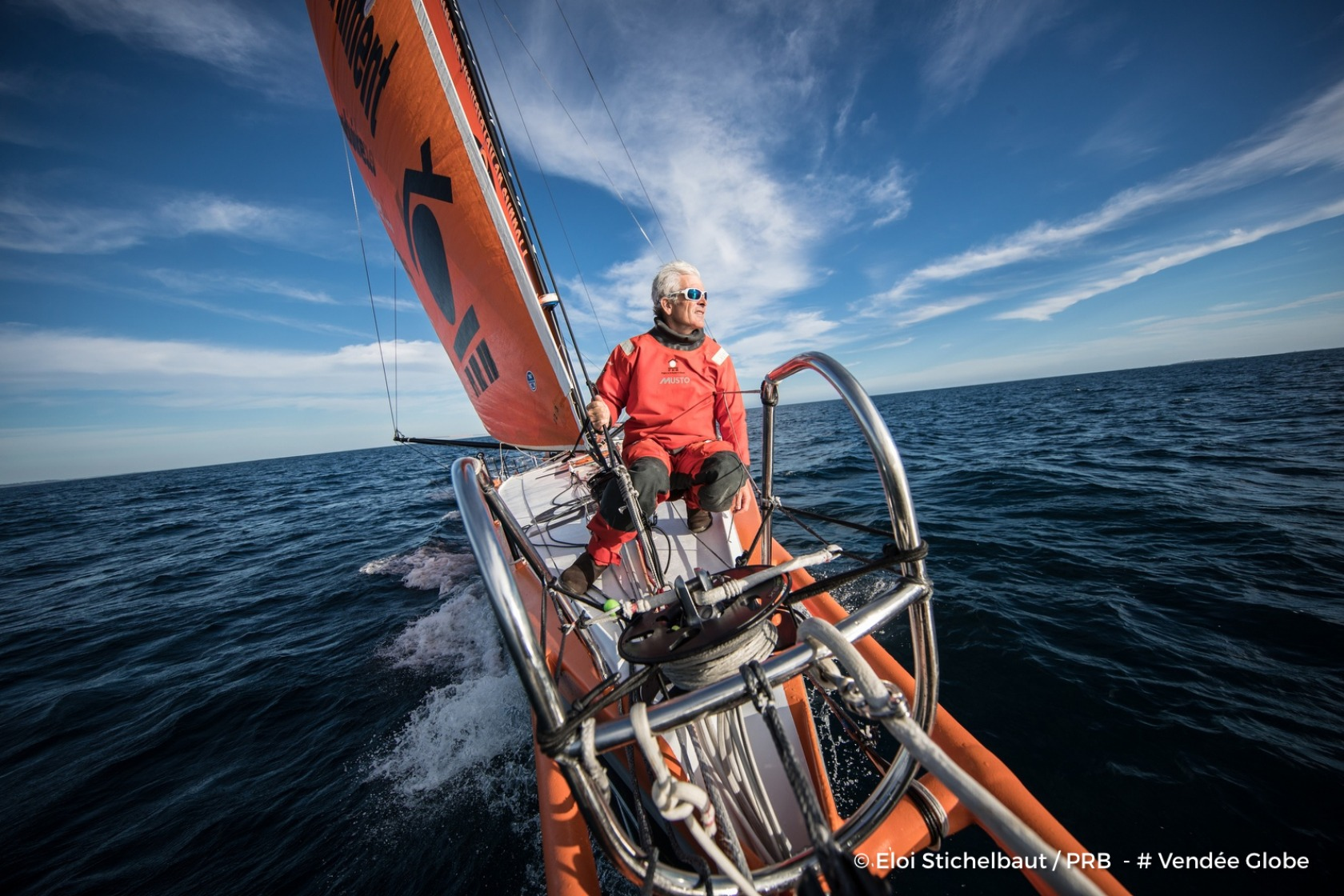 Onboard image bank for Vincent Riou  (FRA), skipper PRB, during training for the Vendee Globe solo race, off Belle Ile on August 18th, 2016 - Photo Eloi Stichelbaut / PRB Banque image embarquée pour Vincent Riou  (FRA), skipper PRB, lors d'un entraineme
