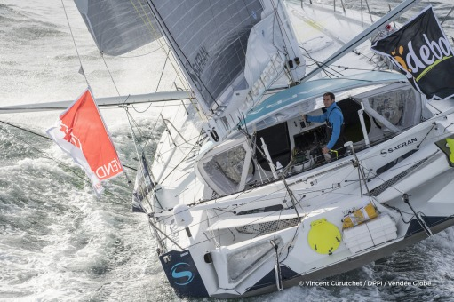 SAFRAN, skipper Morgan Lagraviere (FRA) Aerial illustration of start of the Vendee Globe, in Les Sables d'Olonne, France, on November 6th, 2016 - Photo Vincent Curutchet / DPPI / Vendée GlobeSAFRAN, skipper Morgan Lagraviere (FRA) Vue aérienne du départ