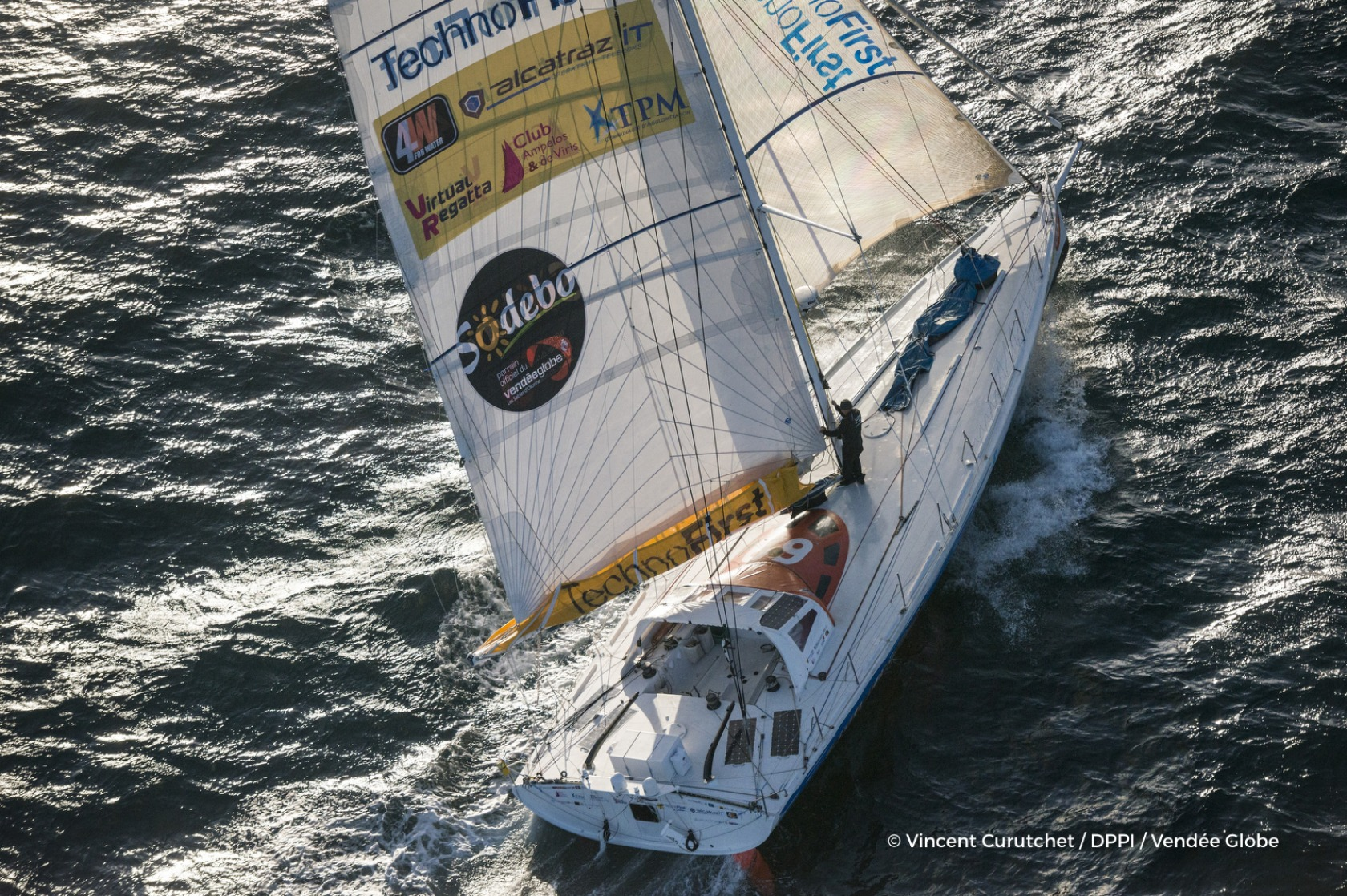 Technofirst Face Ocean, skipper Sebastien Destremau (FRA) Aerial illustration of start of the Vendee Globe, in Les Sables d'Olonne, France, on November 6th, 2016 - Photo Vincent Curutchet / DPPI / Vendée GlobeTechnofirst Face Ocean, skipper Sebastien De