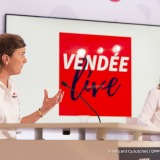 Live TV broadcast with guest Erik Orsenna, french writer, with journalists Olivia Maincent and Virginie Valentini, at the Vendee Globe sailing race headquarters in Paris, on November 24th, 2016 - Photo Vincent Curutchet / DPPI / Vendee Globe