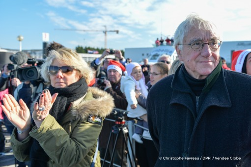 Patricia Brochard (Sodebo President) and Didier Gallot (Les Sables d'Olonne mayor), Return in Les Sables d'Olonne, for Tanguy de Lamotte (FRA), skipper Initiatives Coeur, after being forced to retire from the Vendee Globe solo circumnavigation sailing rac