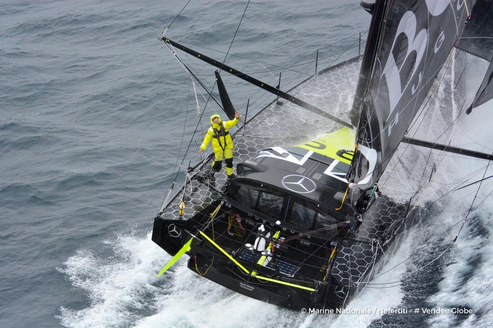 Aerial shot of Hugo Boss, skipper Alex Thomson (GBR), off the Kerguelen Islands, flied over by the National French Marine Nivose Frigate, during the Vendee Globe, solo sailing race around the world, on November 30th, 2016 - Photo Marine Nationale / Nefert