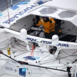 Aerial shot of Banque Populaire VIII, skipper Armel Le Cleac'h (FRA), off the Kerguelen Islands, flied over by the National French Marine Nivose Frigate, during the Vendee Globe, solo sailing race around the world, on November 30th, 2016 - Photo Marine Na