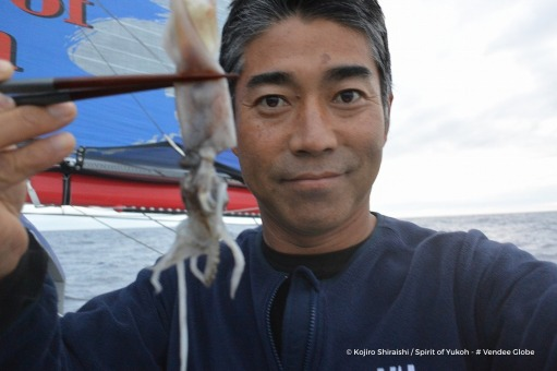 Photo sent from the boat Spirit of Yukoh, on December 2nd, 2016 - Photo Kojiro ShiraishiPhoto envoyée depuis le bateau Spirit of Yukoh le 2  Décembre 2016 - Photo Kojiro ShiraishiSquid for lunch ?