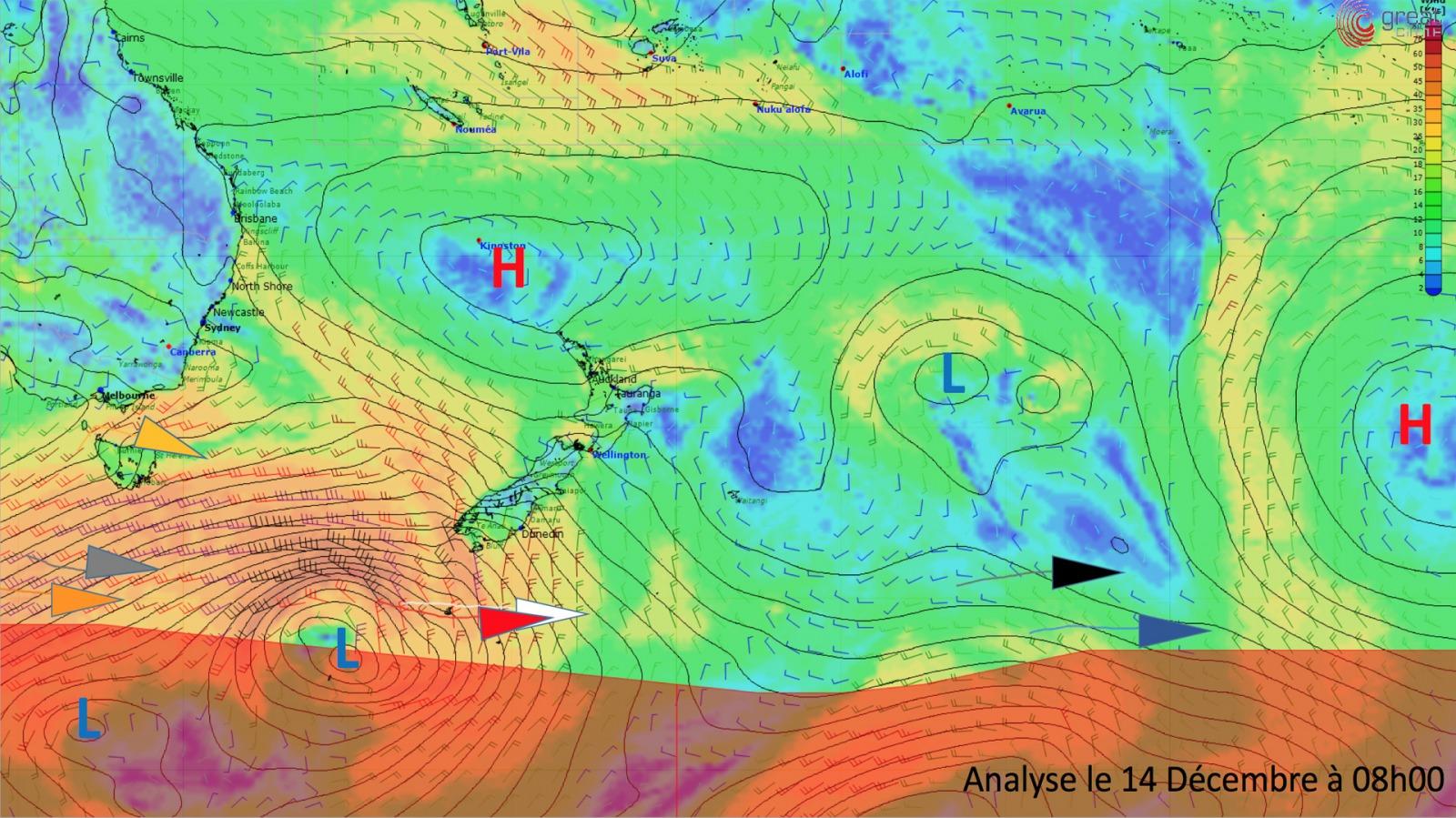 Actualit s temp te au sud de la nouvelle z lande et dans l 39 indien ven - Dormir tete au sud est ...