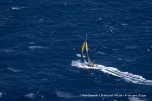 Aerial shot of Jean-Pierre Dick (FRA), skipper St-Michel Virbac, off Bass Strait in Tasmania, during the Vendee Globe, solo sailing race around the world, on December 14th, 2016 - Photo Rob Burnett / St-Michel Virbac / Vendee Globe