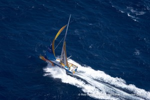 Aerial shot of Jean-Pierre Dick (FRA), skipper St-Michel Virbac, off Bass Strait in Tasmania, during the Vendee Globe, solo sailing race around the world, on December 14th, 2016 - Photo Rob Burnett / St-Michel Virbac / Vendee GlobePhoto aérienne de Jean