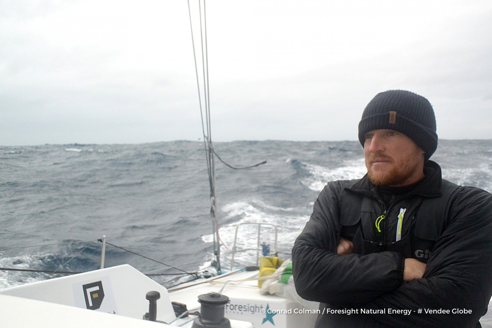 Photo sent from the boat Foresight Natural Energy, on December 14th, 2016 - Photo Conrad ColmanPhoto envoyée depuis le bateau Foresight Natural Energy le 14 Décembre 2016 - Photo Conrad ColmanCold portrait in the south