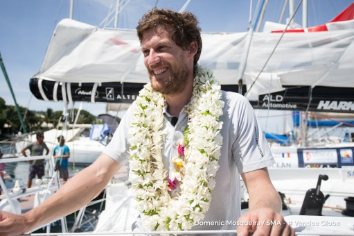 Paul Meilhat (FRA), skipper SMA, arriving in Tahiti, French territories, to repair his boat, after his keel had a problem and obliged him to retire from the Vendee Globe, solo circumnavigation sailing race, on December 29th, 2016 - Photo Domenic Mosqueira
