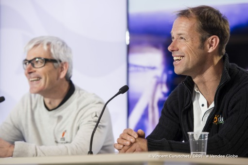 Broadcast live with journalist Virginie Valentini and Olivia Maincent, and guests Vincent Riou  (FRA), skipper PRB, and Thomas Coville (Skipper Sodebo Ultim) in the Vendee Globe Paris headquarters on January 5th, 2017 - Photo Vincent Curutchet / DPPI / Ve