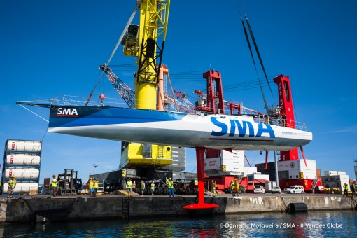 SMA, skipper Paul Meilhat (FRA), at drydock in Tahiti, French territories, to be uploaded on a cargo, after her keel had a problem and obliged him to retire from the Vendee Globe, solo circumnavigation sailing race, on January 7th, 2017 - Photo Domenic Mo