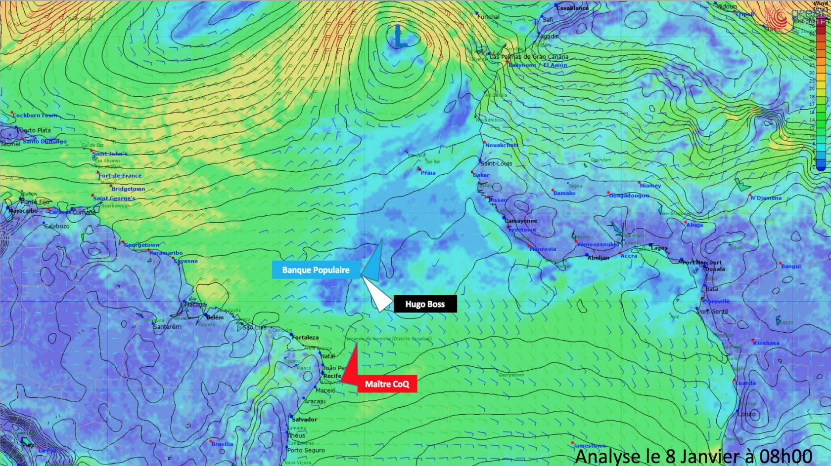 Weather Analysis January 8th 2017 - First 3 boats
