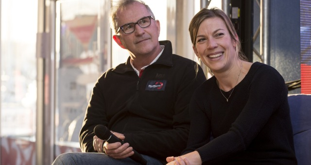 Round table by Vincent Balard with Jacques Caraes (Race Director) and Laura Le Goff (General Manager) in the Vendee Globe village of Les Sables d'Olonne, on January 16th, 2017 - Photo Olivier Blanchet / DPPI / Vendee GlobeTable ronde par Vincent Balard
