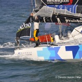 First image of Banque Populaire VIII, skipper Armel Le Cleac'h (FRA), first boat in the sailing solo circumnavigation race Vendee Globe, off Brittany on her way to Les Sables d'Olonne, on January 19th, 2017 at 8h50 AM - Photo Dimitri Voisin / DPPI