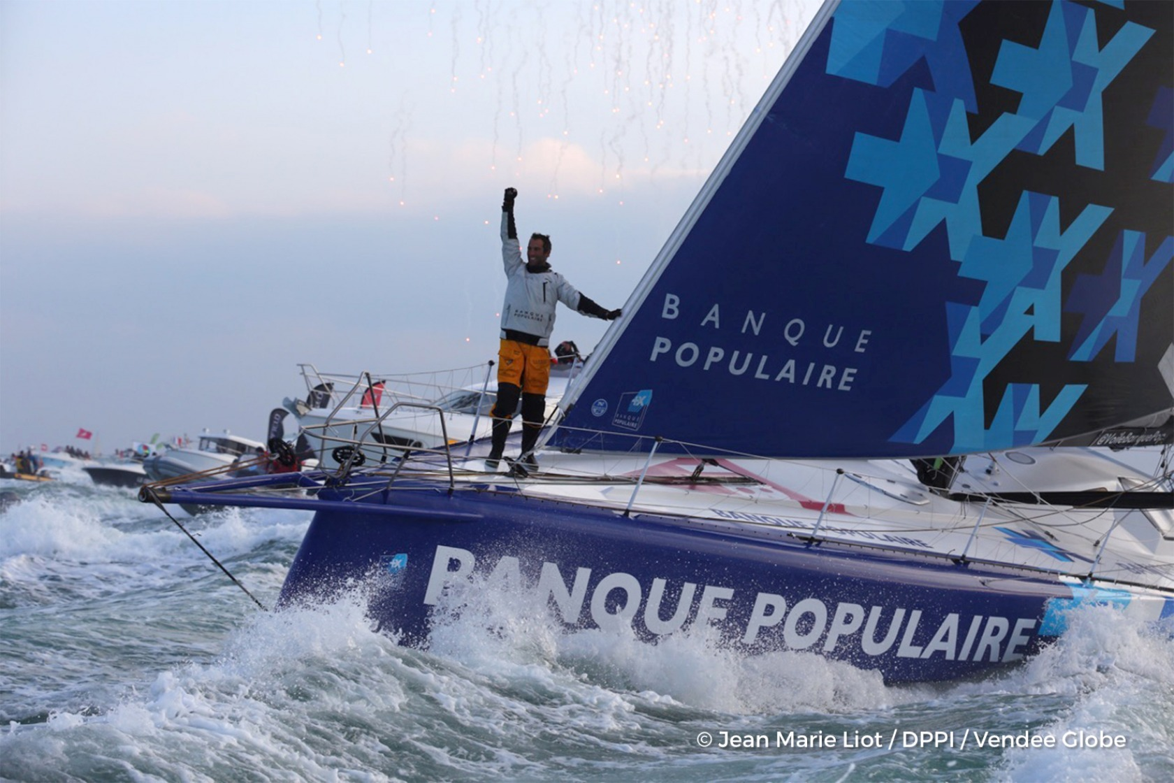 Finish arrival of Armel Le Cleac'h (FRA), skipper Banque Populaire VIII, winner of the sailing circumnavigation solo race Vendee Globe, in 74d 3h 35min 46sec, in Les Sables d'Olonne, France, on January 19th, 2017 - Photo Jean Marie Liot / DPPI / Vendee Gl