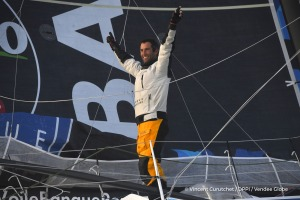 Finish arrival of Armel Le Cleac'h (FRA), skipper Banque Populaire VIII, winner of the sailing circumnavigation solo race Vendee Globe, in 74d 3h 35min 46sec, in Les Sables d'Olonne, France, on January 19th, 2017 - Photo Vincent Curutchet / DPPI / Vendee