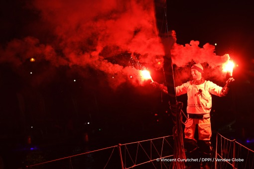 Finish arrival of Armel Le Cleac'h (FRA), skipper Banque Populaire VIII, winner of the sailing circumnavigation solo race Vendee Globe, in 74d 3h 35min 46sec, with flares in Les Sables d'Olonne, France, on January 19th, 2017 - Photo Vincent Curutchet / DP