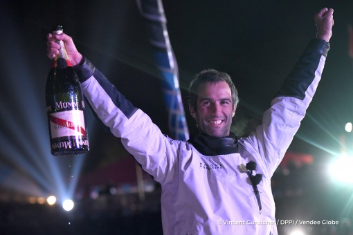 Finish arrival of Armel Le Cleac'h (FRA), skipper Banque Populaire VIII, winner of the sailing circumnavigation solo race Vendee Globe, in 74d 3h 35min 46sec, celebration with Mumm champagne in Les Sables d'Olonne, France, on January 19th, 2017 - Photo Vi