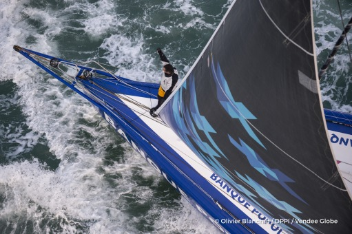 Finish arrival of Armel Le Cleac'h (FRA), skipper Banque Populaire VIII, winner of the sailing circumnavigation solo race Vendee Globe, in 74d 3h 35min 46sec, in Les Sables d'Olonne, France, on January 19th, 2017 - Photo Olivier Blanchet / DPPI / Vendee G
