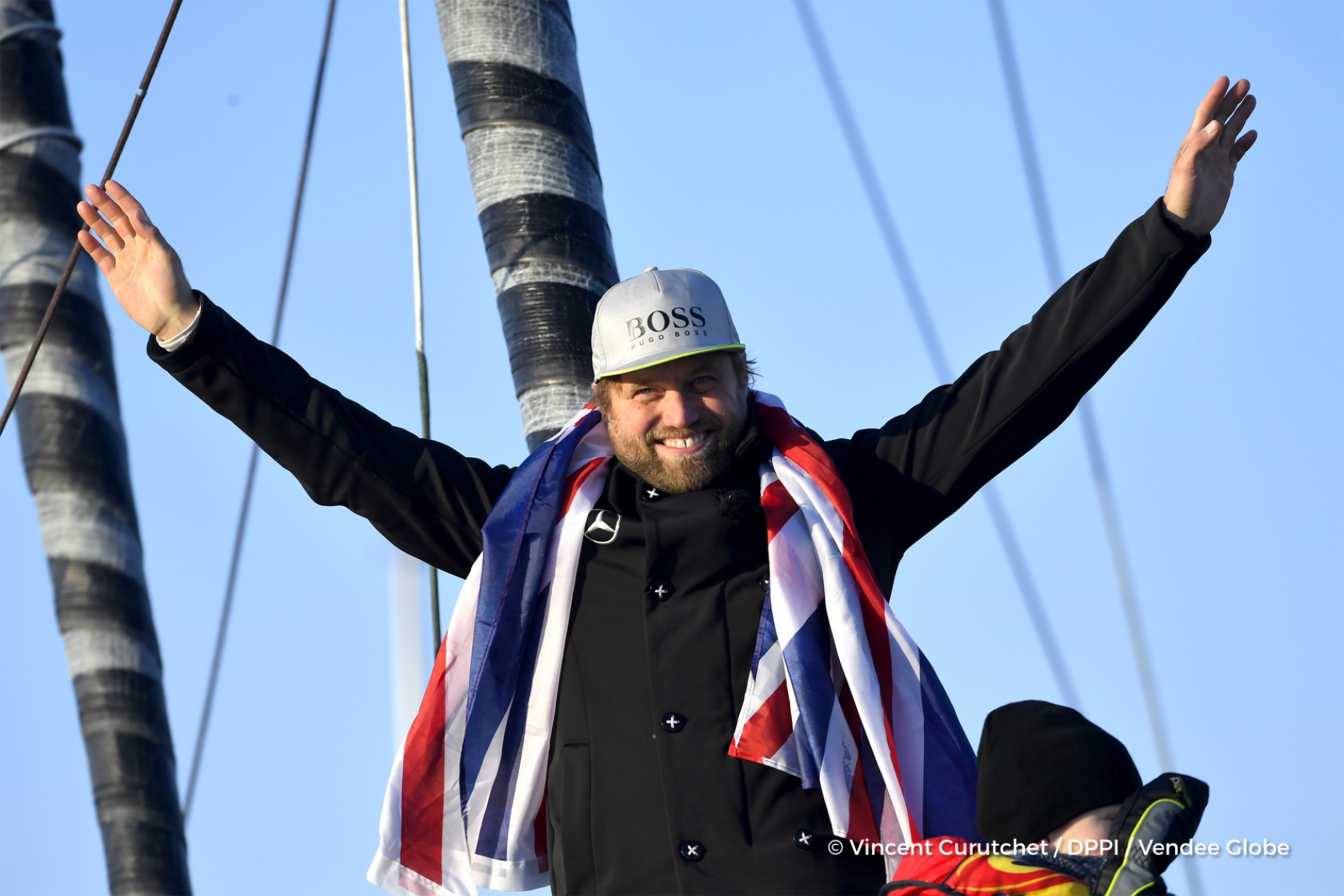 Finish arrival of Alex Thomson (GBR), skipper Hugo Boss, 2nd place of the sailing circumnavigation solo race Vendee Globe, in Les Sables d'Olonne, France, on January 20th, 2017 - Photo Vincent Curutchet / DPPI / Vendee GlobeArrivée de Alex Thomson (GBR)