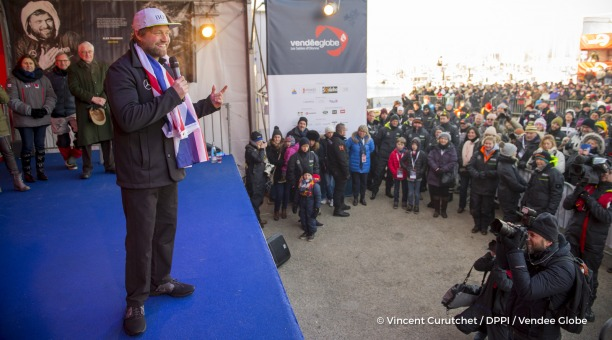 Ambiance podium at Finish arrival of Alex Thomson (GBR), skipper Hugo Boss, 2nd place of the sailing circumnavigation solo race Vendee Globe, in Les Sables d'Olonne, France, on January 20th, 2017 - Photo Vincent Curutchet / DPPI / Vendee GlobeArrivée de